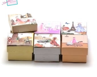 "6 boxes / caskets ring ""girly"" 50 x 50 x 35 mm, assortment of patterns and color"