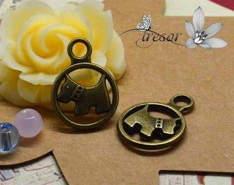 set of 10 QDW293 pendant, bronze, dog