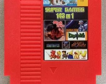Super Games 143 in 1 Game Cartridge for Nintendo Nes ( Metroid, Final Fantasy, Zelda, Startropics, Tecmo Super Bowl, Super Mario, Contra)