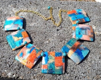 """Necklace fimo """"Stained glass effect"""" square pads"""