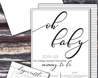 Black & White 'Oh Baby' Custom Made Invitations, Diaper Raffle, Thank You Cards, Digital File