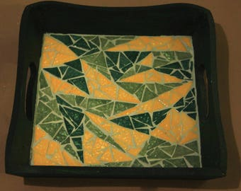 Yellow and green square mosaic tray