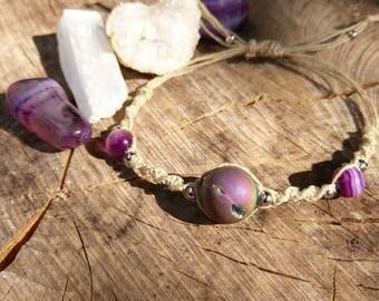 Orion's Belt / Adjustable Hemp, Crystalloid Quartz, Purple Agate Bracelet