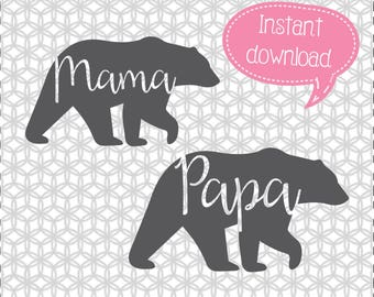 Mama Bear SVG, Papa Bear SVG, Cricut Cut File, Silhouette File
