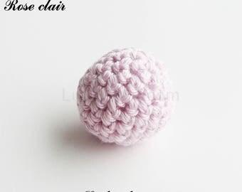 Bead crochet Ø 25 mm, round Pearl: light pink