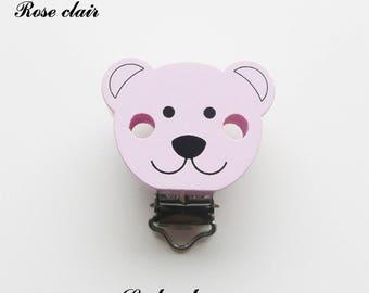 Clip / bow, wooden pacifier Clip, Teddy bear: light pink