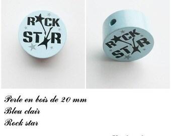 Wooden bead of 20 mm, flat bead, Rock star: light blue