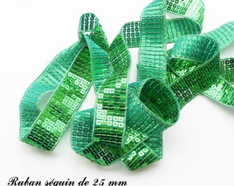 Ribbon / lace sequin glitter 25 mm, sold by 50 cm: medium Green