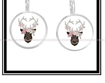 """Earrings """"Floral woodland deer"""""""