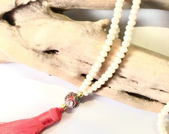 Red Mala tassel necklace & glass beads / boho necklace Natural zen stone lass brown wood beads black tassel buddha
