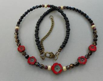 Flower Necklace,romantic necklace,black necklace,bohemian necklace,beaded necklace.