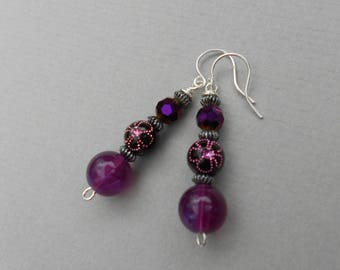 Purple flower earrings,  purple teardrop earrings, glass bead earrings