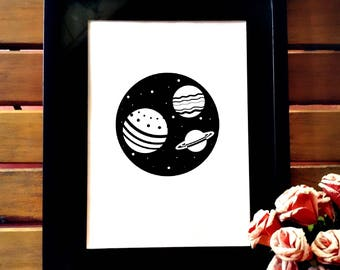 Minimalist black and white poster wall decor printable, planets and galaxy art, iPhone background , t shirt design