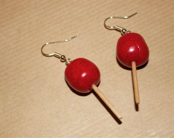 Love with polymer clay Apple earrings
