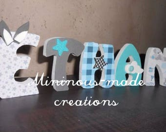 Name with ETHAN custom wooden letters