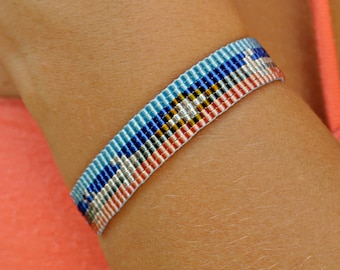 Style ethnic Native American navajo - boho chic coachella - grey/pink brown white red - weaving loom bracelet woven with Miyuki beads-