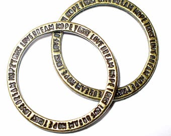 2 rings in metal bronze messages MR243 21mm