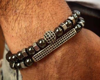 Men bracelet, Hematite bracelet men, Men bracelet set, Beaded bracelet for men, beaded bracelet stack, bracelet men, mens gift