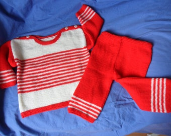 sweater and pants red/white acrylic 10/12 months