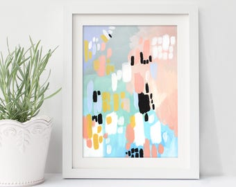 "small abstract painting, acrylic painting, modern painting, original painting, pastel colors, original art, modern art - ""Wish You Well"""