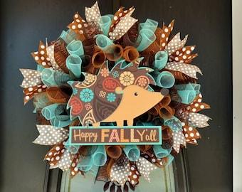 Fall wreath, Happy Fall wreath, Autumn Wreath, hedgehog fall wreath, critter wreath, seasonal wreath, Happy Fall Y'all wreath