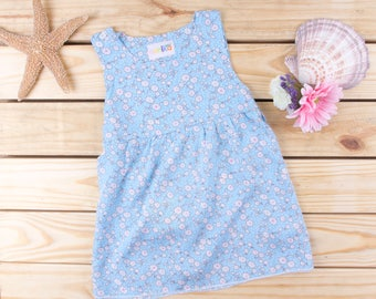 Handmade Floral Batik Sleeveless Mini Dress for Baby Infant Toddler Dress, Baby Shower Gift Available in Size 12mo, 18mo & 24mo