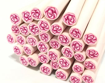 X 10 polymer clay flower canes ❤ pink 5mm ❤