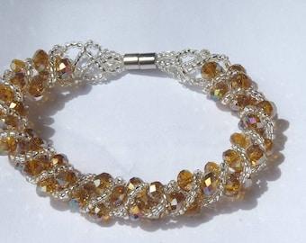 Light yellow swarovski crystal Orange swarovski crystal bracelet / Bronze