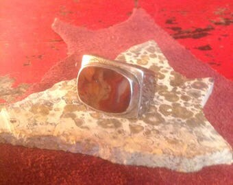 Sterling Silver Etched Band & Agate Slice Ring Size 9