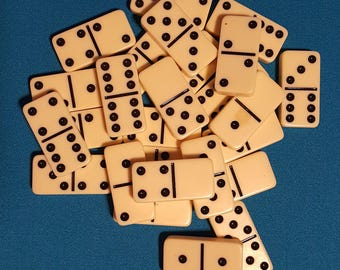 """27 Ivory and Black Plastic Dominoes ~ 2"""""""