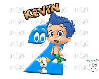 Bubble Guppies Iron On Transfer Design. Bubble Guppies Birthday Shirt Iron On Transfer. DIY Birthday Shirt Transfer. Digital File Only