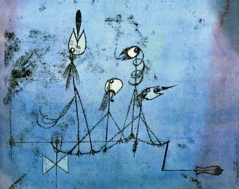 ORIGINAL design, durable and WASHABLE PLACEMAT - Paul Klee - machine chirp - classic.