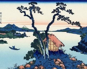 ORIGINAL SEMI RIGID PLACEMAT. Hokusai. Lake Suwa in Shinano province.