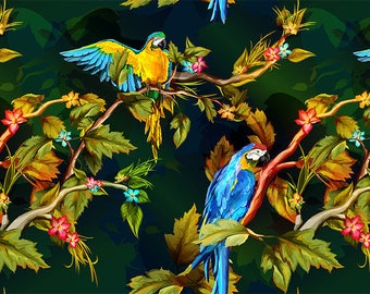 ORIGINAL design, durable and WASHABLE PLACEMAT - parrots, macaws in the jungle - classic colony.