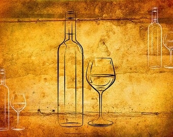 SEMI-rigid PLACEMAT, ORIGINAL, plastic, WASHABLE and durable - modern painting - painting modern - wine bottle and glass.