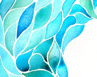 SET of TABLE design, original, plastic, washable and durable - abstract watercolor - blue feathers.