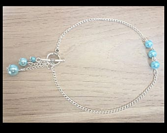 Anklet and blue glass beads