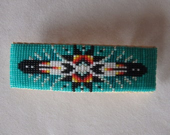Turquoise Feather Beaded Barrette