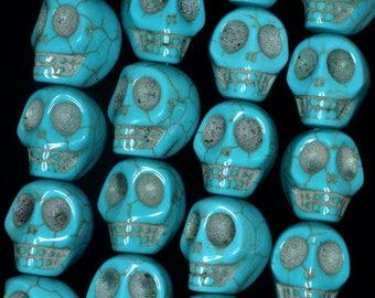 Turquoise head bead skulls mexican sugar skull howlite calavera dia los muertos 15 x 18 mm