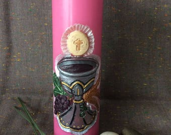 Cut first communion candle