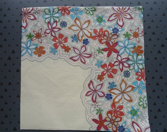 "napkin ""flowers"" cream background"