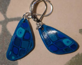 Petals earrings mosaic, gradient blue Fimo.