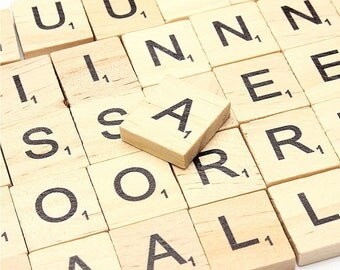 Scrabble Pieces - Board Game - Wooden Scrabble Black Letters Numbers Set for Game Board Arts & Crafts Pine Wood