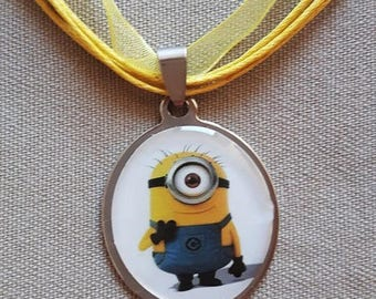 Organza and Minions oval Locket necklace