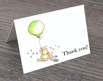 Set of Classic Winnie The Pooh Thank You Cards & Envelopes White Background