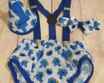 Baby Cookie Monster Cake Smash Outfit