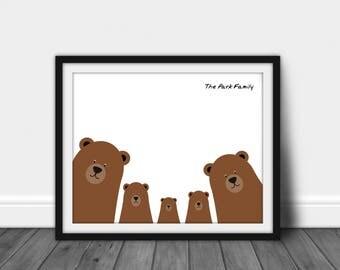 Personalised Family Home Print   Family Printable   Bear Print   Wall Art   Home Decor   Wall Decor   Bear Printable   Custom Family Print