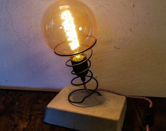 Lamp concrete spring upholstery vintage filament bulb