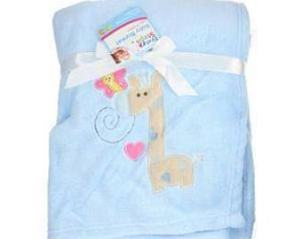 Great blanket for baby blue with giraffe 75 x 100