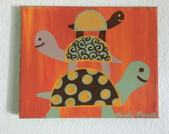 """3 Turtles Nursery Original Acrylic 8"""" x 10"""""""
